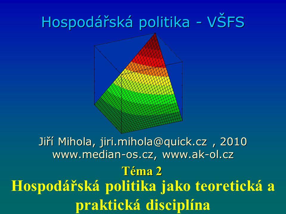Hospodářská politika jako teoretická a praktická disciplína Hospodářská politika - VŠFS Jiří Mihola, jiri.mihola@quick.cz, 2010 www.median-os.cz, www.ak-ol.cz Téma 2