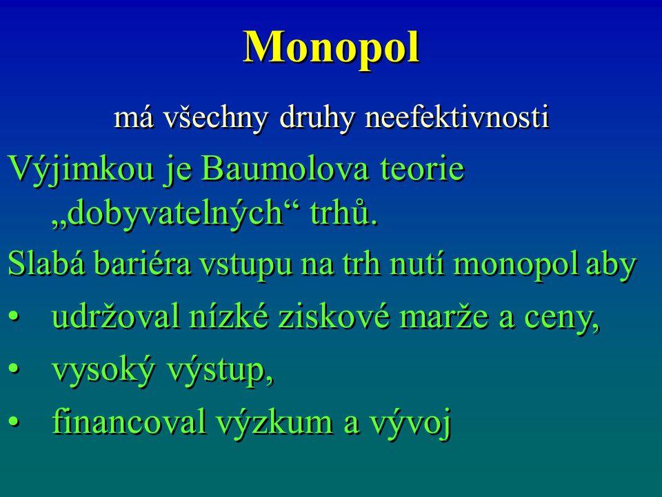 "Monopol má všechny druhy neefektivnosti Výjimkou je Baumolova teorie ""dobyvatelných"" trhů. Slabá bariéra vstupu na trh nutí monopol aby udržoval nízké"