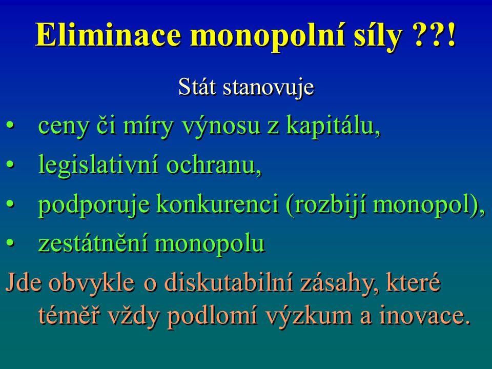Eliminace monopolní síly ??! Stát stanovuje ceny či míry výnosu z kapitálu, legislativní ochranu, podporuje konkurenci (rozbijí monopol), zestátnění m