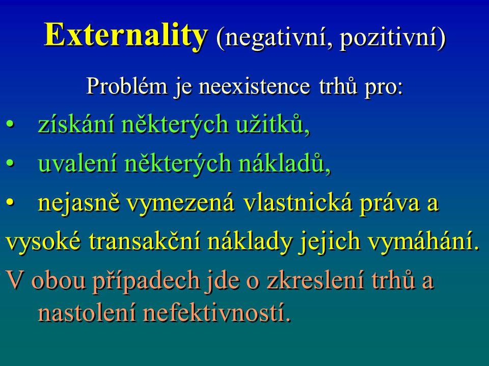 Externality (negativní, pozitivní) Problém je neexistence trhů pro: získání některých užitků, uvalení některých nákladů, nejasně vymezená vlastnická p