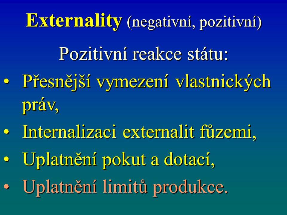 Externality (negativní, pozitivní) Pozitivní reakce státu: Přesnější vymezení vlastnických práv, Internalizaci externalit fůzemi, Uplatnění pokut a dotací, Uplatnění limitů produkce.