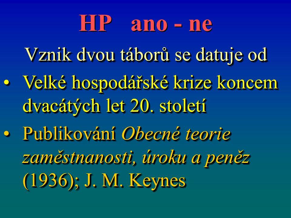 HP ano - ne Vznik dvou táborů se datuje od Velké hospodářské krize koncem dvacátých let 20.