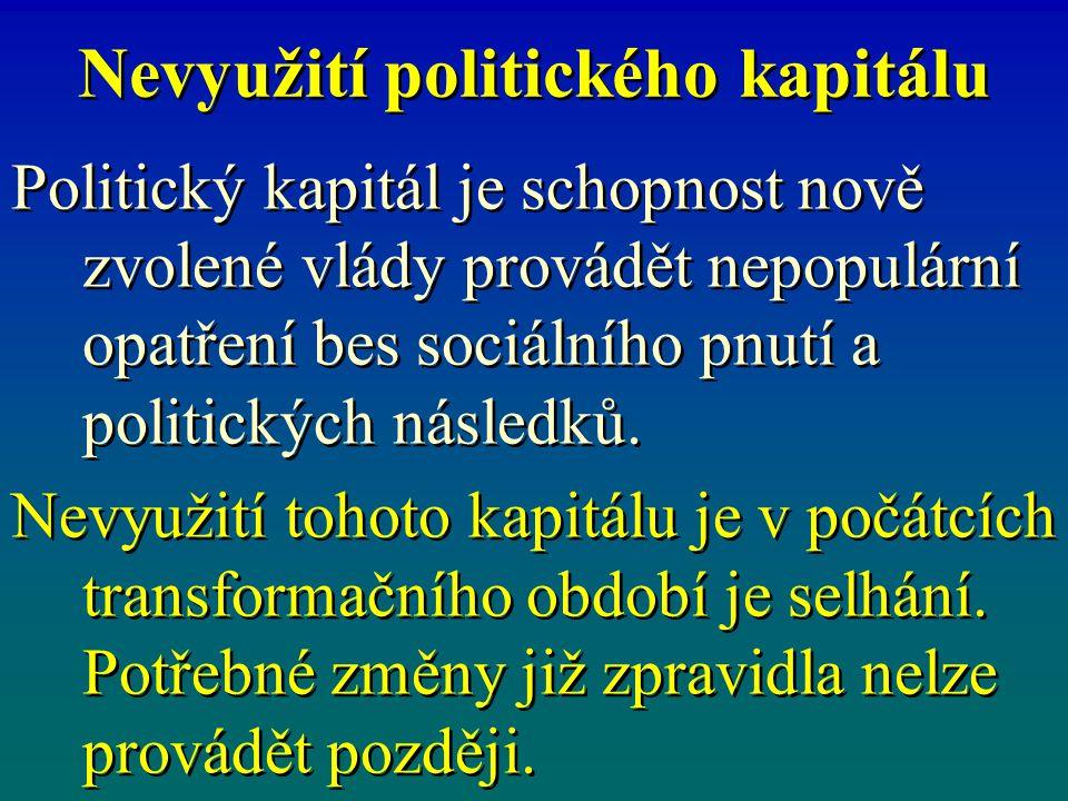 Nevyužití politického kapitálu Politický kapitál je schopnost nově zvolené vlády provádět nepopulární opatření bes sociálního pnutí a politických násl