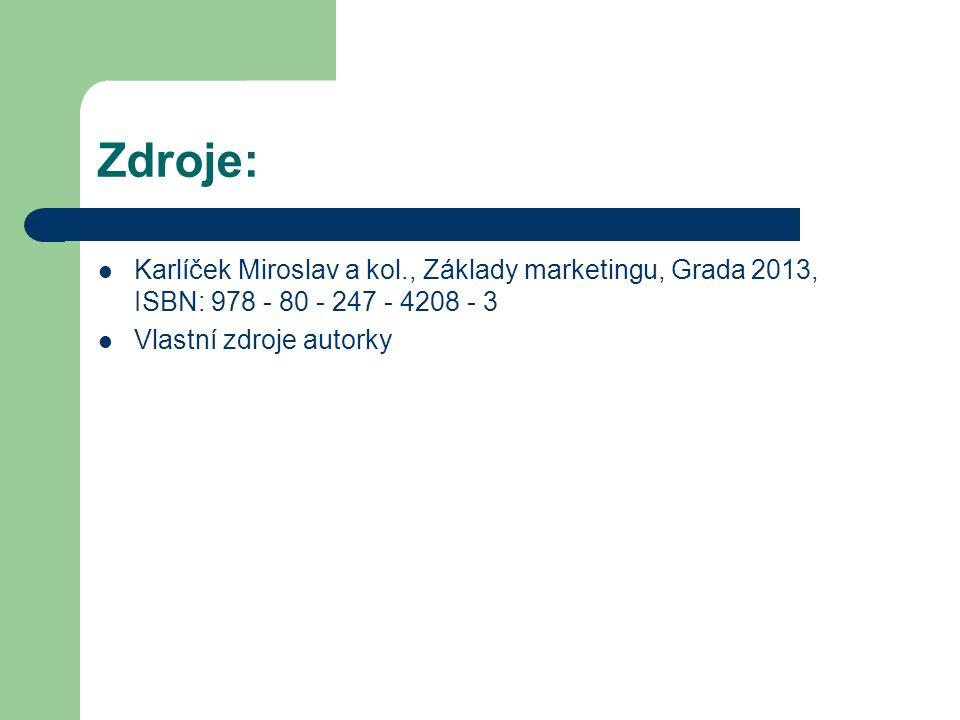 Zdroje: Karlíček Miroslav a kol., Základy marketingu, Grada 2013, ISBN: 978 - 80 - 247 - 4208 - 3 Vlastní zdroje autorky