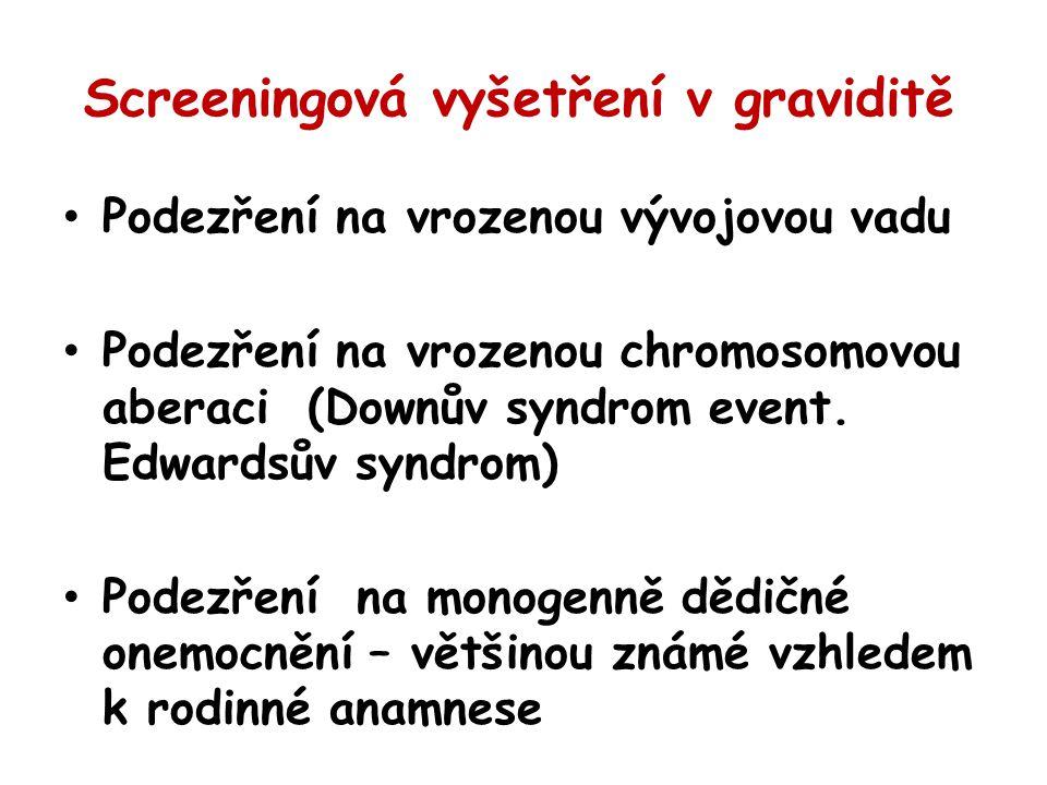 Screeningová vyšetření v graviditě Podezření na vrozenou vývojovou vadu Podezření na vrozenou chromosomovou aberaci (Downův syndrom event. Edwardsův s
