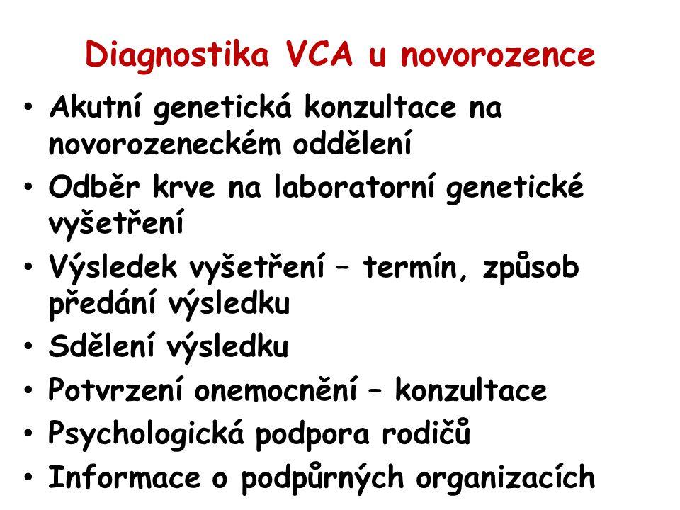 Diagnostika VCA u novorozence Akutní genetická konzultace na novorozeneckém oddělení Odběr krve na laboratorní genetické vyšetření Výsledek vyšetření