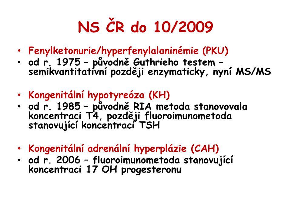 NS ČR do 10/2009 Fenylketonurie/hyperfenylalaninémie (PKU) od r. 1975 – původně Guthrieho testem – semikvantitativní později enzymaticky, nyní MS/MS K