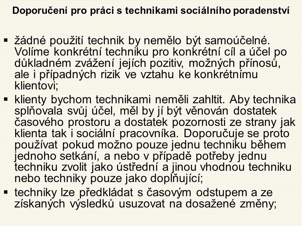 Doporučení pro práci s technikami sociálního poradenství  žádné použití technik by nemělo být samoúčelné.