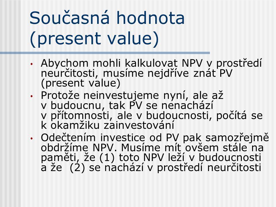 Současná hodnota (present value) Abychom mohli kalkulovat NPV v prostředí neurčitosti, musíme nejdříve znát PV (present value) Protože neinvestujeme nyní, ale až v budoucnu, tak PV se nenachází v přítomnosti, ale v budoucnosti, počítá se k okamžiku zainvestování Odečtením investice od PV pak samozřejmě obdržíme NPV.