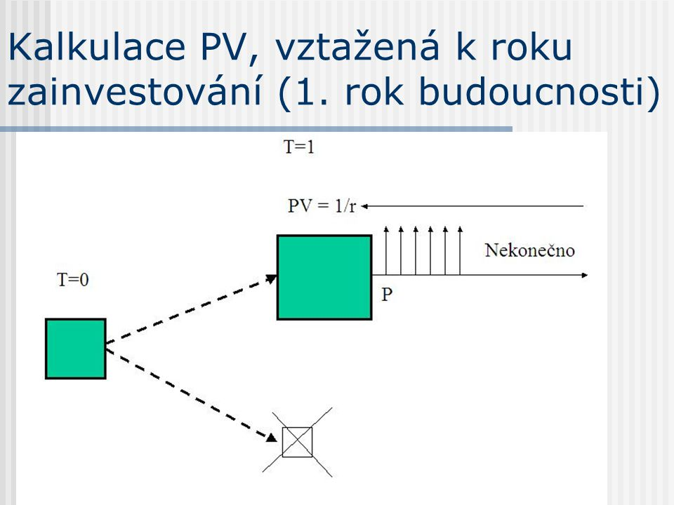Kalkulace PV, vztažená k roku zainvestování (1. rok budoucnosti)