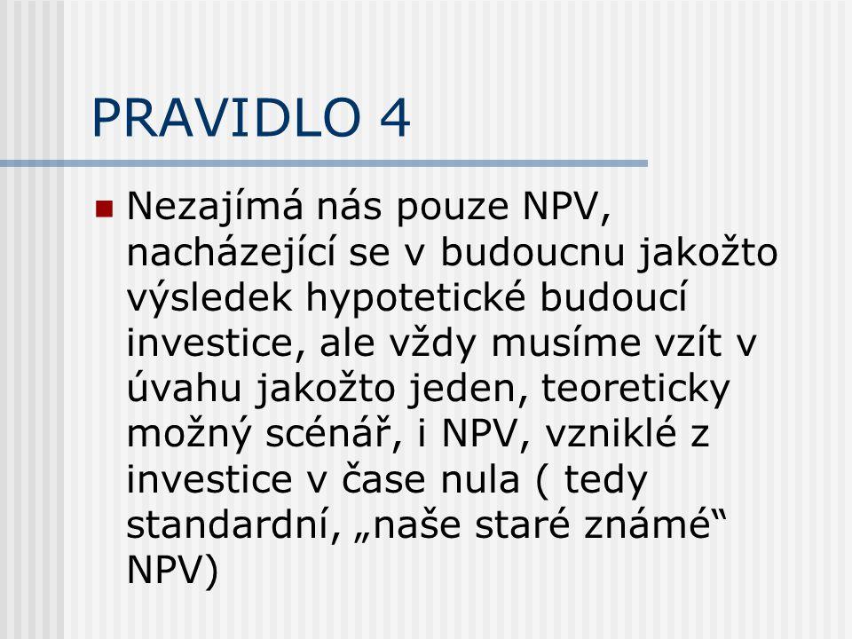 """PRAVIDLO 4 Nezajímá nás pouze NPV, nacházející se v budoucnu jakožto výsledek hypotetické budoucí investice, ale vždy musíme vzít v úvahu jakožto jeden, teoreticky možný scénář, i NPV, vzniklé z investice v čase nula ( tedy standardní, """"naše staré známé NPV)"""