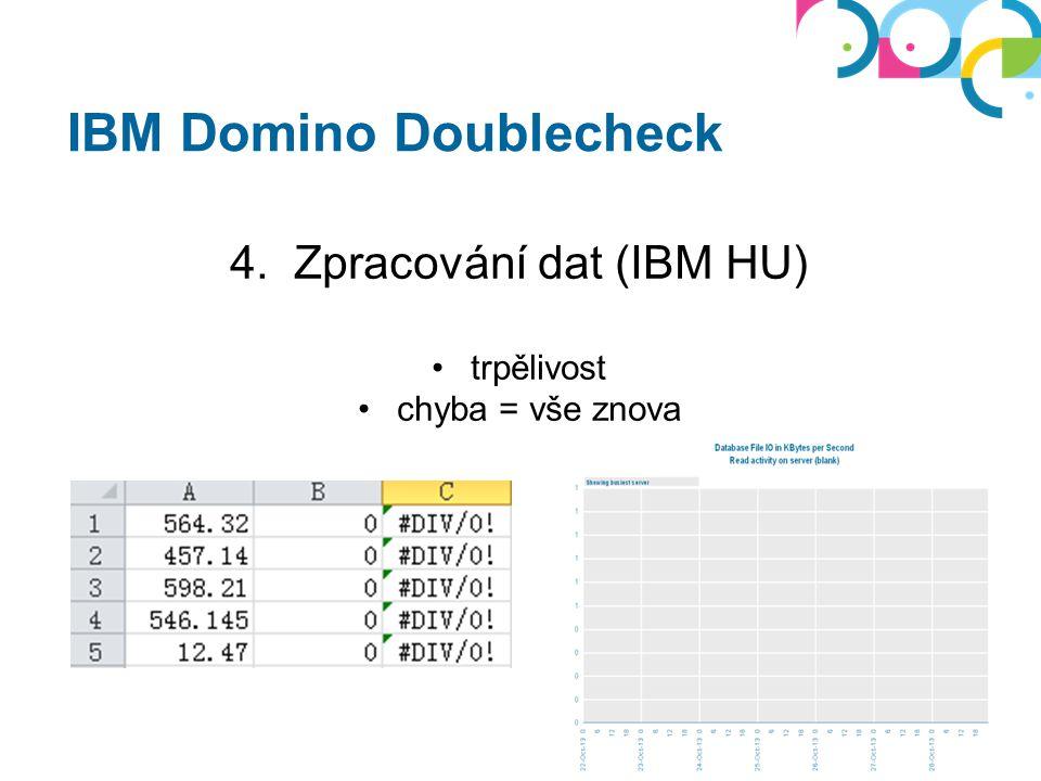 IBM Domino Doublecheck 4. Zpracování dat (IBM HU) trpělivost chyba = vše znova