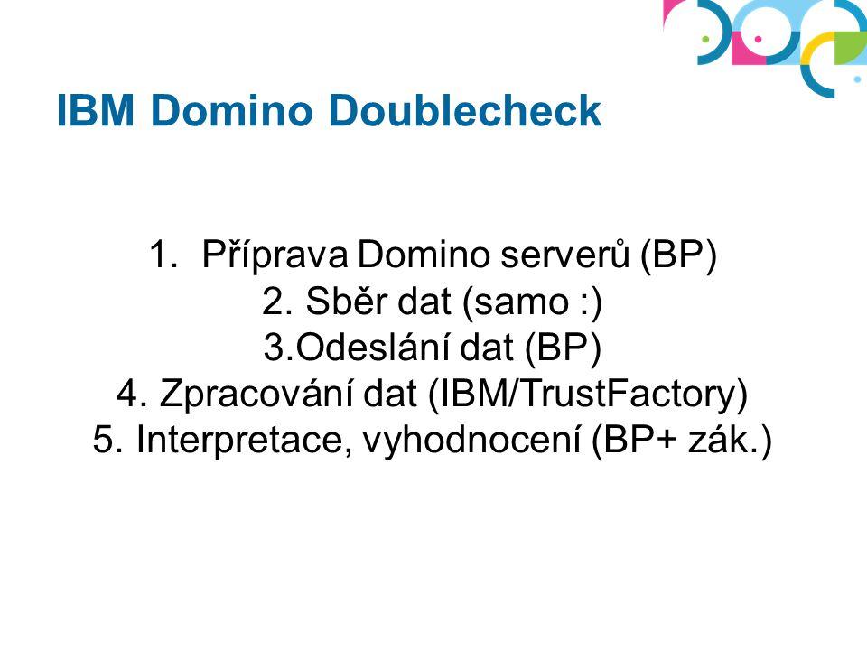 IBM Domino Doublecheck 1. Příprava Domino serverů (BP) 2. Sběr dat (samo :) 3.Odeslání dat (BP) 4. Zpracování dat (IBM/TrustFactory) 5. Interpretace,