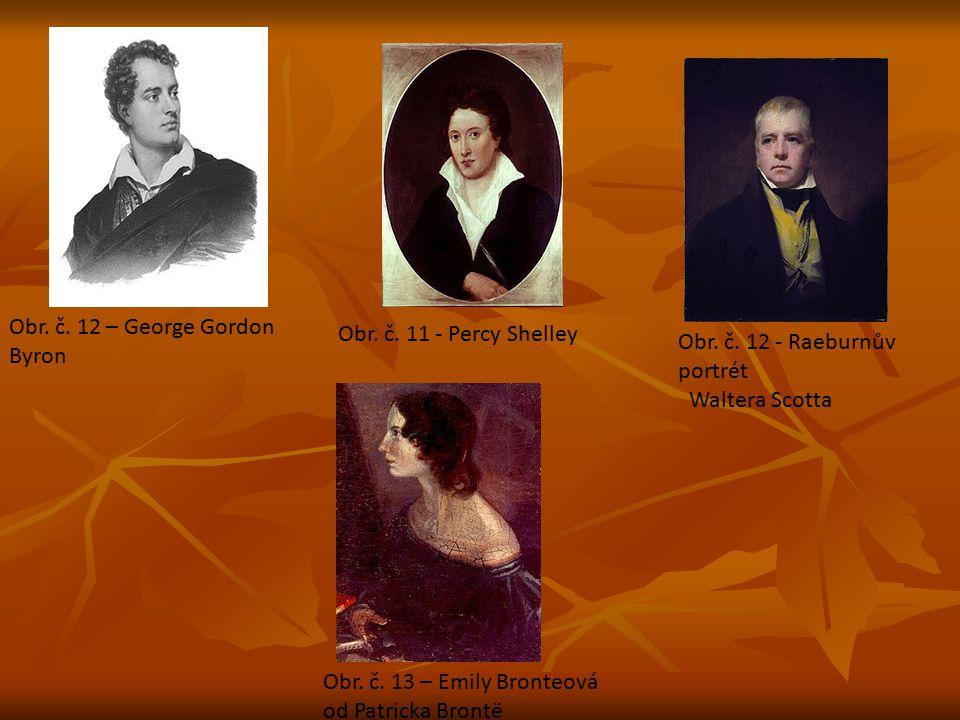 Obr. č. 12 – George Gordon Byron Obr. č. 11 - Percy Shelley Obr. č. 12 - Raeburnův portrét Waltera Scotta Obr. č. 13 – Emily Bronteová od Patricka Bro