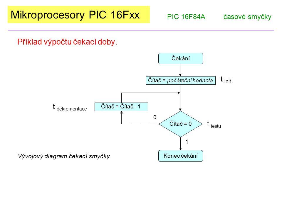 Mikroprocesory PIC 16Fxx Příklad výpočtu čekací doby. PIC 16F84Ačasové smyčky Čekání Čítač = 0 1 Čítač = počáteční hodnota Konec čekání Čítač = Čítač