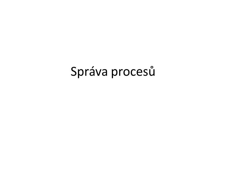Plánování procesoru Nepreempitivní: proces se musí procesoru sám vzdát (situace 1,2), například když – Skončí – Potřebuje událost – Sám zjistí, že uplynulo časové kvantum Při nestandardním chování procesu může dojít k zablokování počítače (nižší verze Windows) Preemptivní: Procesor může procesu odebrat plánovač procesů (bod 3) Preemptivní v reálném čase: Plánovač procesů sleduje i neběžící procesy a podle jejich stavu přeplánovává využití procesoru (bod 4)