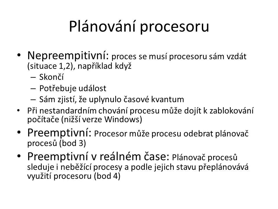 Plánování procesoru Nepreempitivní: proces se musí procesoru sám vzdát (situace 1,2), například když – Skončí – Potřebuje událost – Sám zjistí, že upl