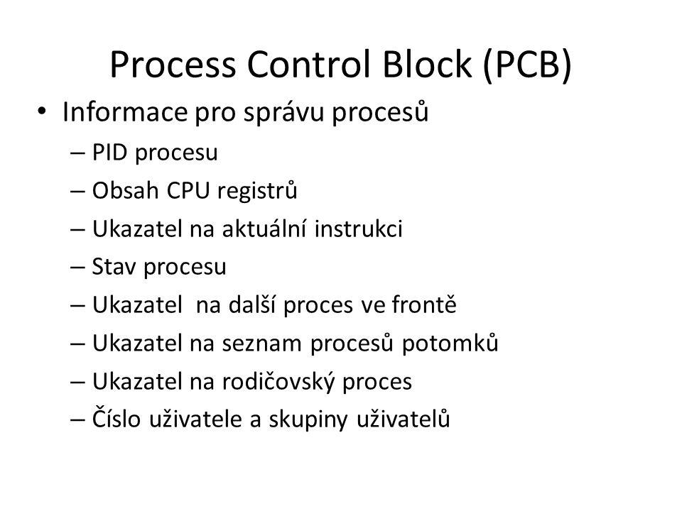 Process Control Block (PCB) Informace pro správu procesů – PID procesu – Obsah CPU registrů – Ukazatel na aktuální instrukci – Stav procesu – Ukazatel