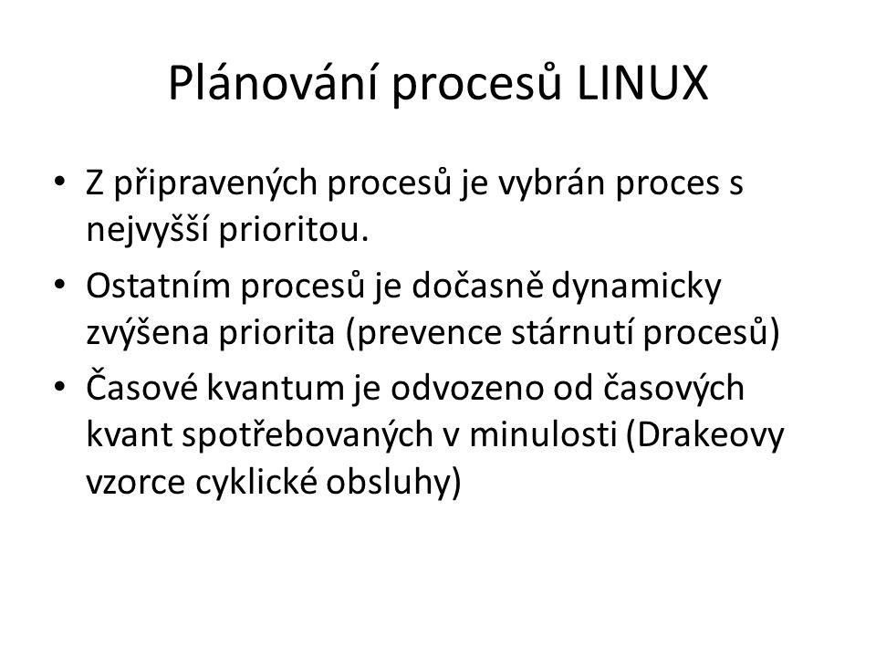 Plánování procesů LINUX Z připravených procesů je vybrán proces s nejvyšší prioritou. Ostatním procesů je dočasně dynamicky zvýšena priorita (prevence