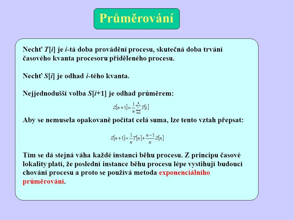 Průměrování Nechť T[i] je i-tá doba provádění procesu, skutečná doba trvání časového kvanta procesoru přiděleného procesu.