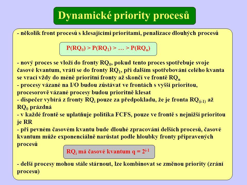 Dynamické priority procesů - několik front procesů s klesajícími prioritami, penalizace dlouhých procesů P(RQ 0 ) > P(RQ 1 ) > … > P(RQ n ) - nový proces se vloží do fronty RQ 0, pokud tento proces spotřebuje svoje časové kvantum, vrátí se do fronty RQ 1, při dalším spotřebování celého kvanta se vrací vždy do méně prioritní fronty až skončí ve frontě RQ n - procesy vázané na I/O budou zůstávat ve frontách s vyšší prioritou, procesorově vázané procesy budou prioritně klesat - dispečer vybírá z fronty RQ i pouze za předpokladu, že je fronta RQ (i-1) až RQ 0 prázdná - v každé frontě se uplatňuje politika FCFS, pouze ve frontě s nejnižší prioritou je RR - při pevném časovém kvantu bude dlouhé zpracování delších procesů, časové kvantum může exponenciálně narůstat podle hloubky fronty připravených procesů RQ i má časové kvantum q = 2 i-1 - delší procesy mohou stále stárnout, lze kombinovat se změnou priority (zrání procesu)
