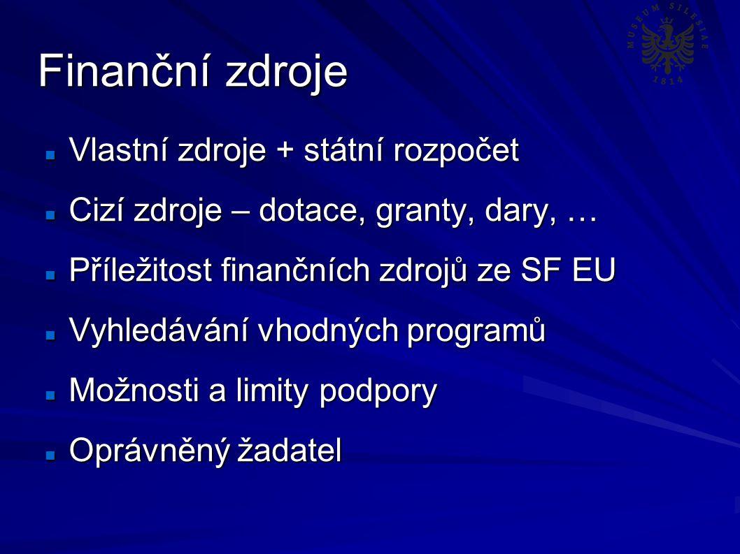 Finanční zdroje Vlastní zdroje + státní rozpočet Vlastní zdroje + státní rozpočet Cizí zdroje – dotace, granty, dary, … Cizí zdroje – dotace, granty, dary, … Příležitost finančních zdrojů ze SF EU Příležitost finančních zdrojů ze SF EU Vyhledávání vhodných programů Vyhledávání vhodných programů Možnosti a limity podpory Možnosti a limity podpory Oprávněný žadatel Oprávněný žadatel