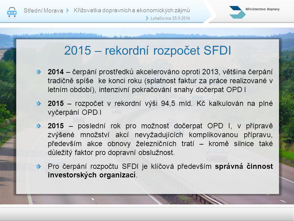 2015 – rekordní rozpočet SFDI 2014 – čerpání prostředků akcelerováno oproti 2013, většina čerpání tradičně spíše ke konci roku (splatnost faktur za pr