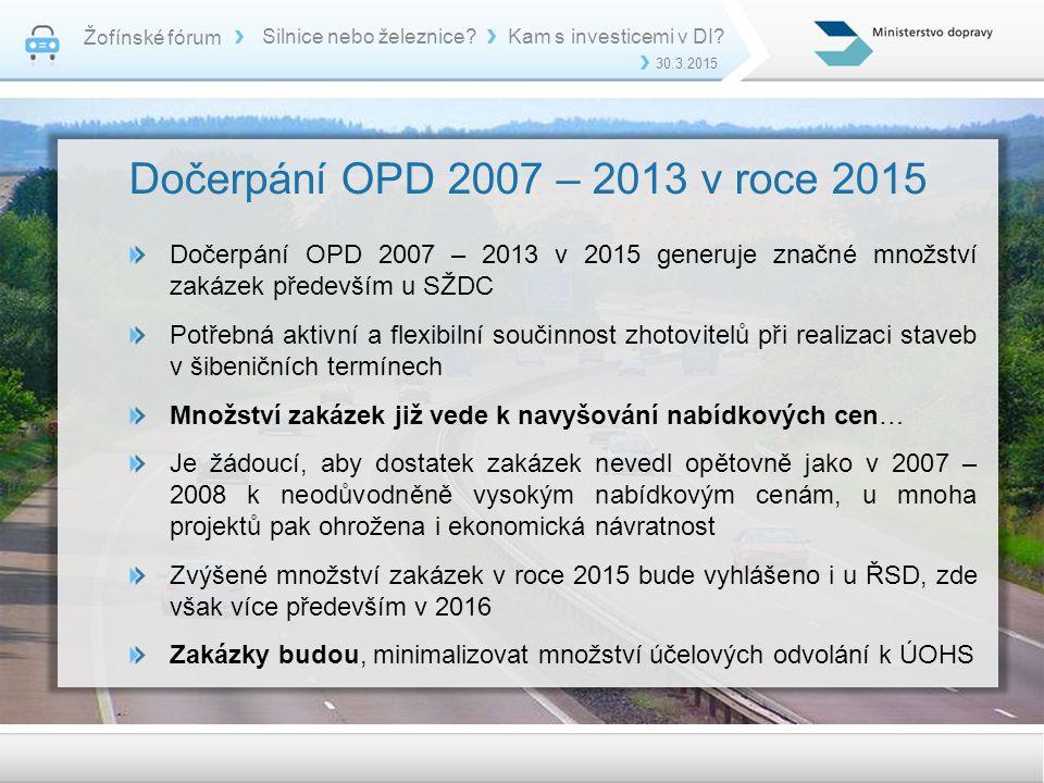 Žofínské fórum 30.3.2015 Silnice nebo železnice?Kam s investicemi v DI? Dočerpání OPD 2007 – 2013 v roce 2015 Dočerpání OPD 2007 – 2013 v 2015 generuj