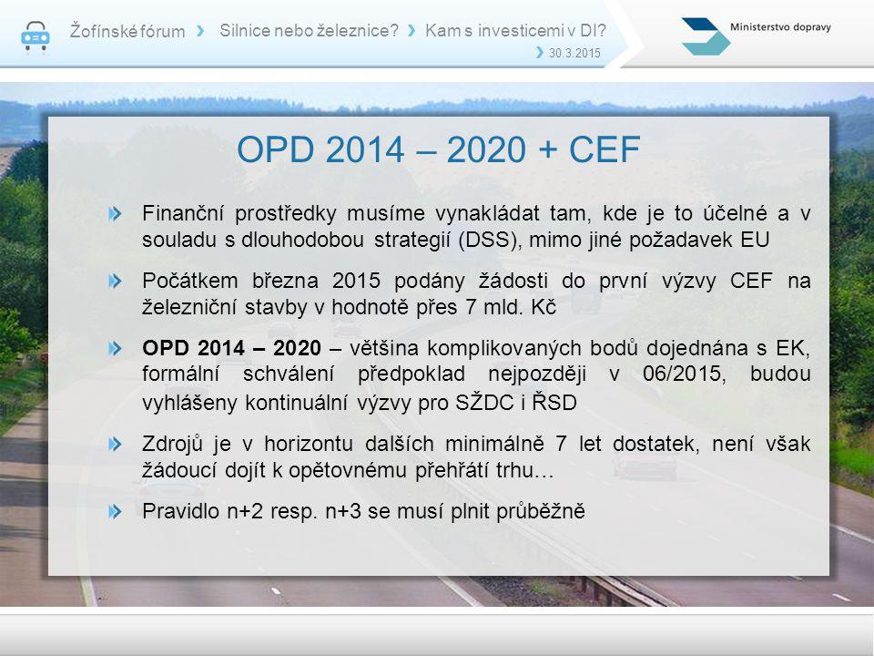 Žofínské fórum 30.3.2015 Silnice nebo železnice?Kam s investicemi v DI? OPD 2014 – 2020 + CEF Finanční prostředky musíme vynakládat tam, kde je to úče