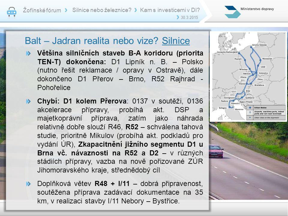 Žofínské fórum 30.3.2015 Silnice nebo železnice?Kam s investicemi v DI? Balt – Jadran realita nebo vize? Silnice Většina silničních staveb B-A koridor