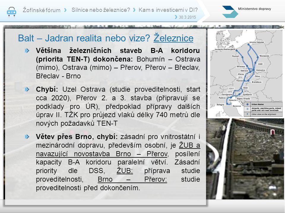 Žofínské fórum 30.3.2015 Silnice nebo železnice?Kam s investicemi v DI? Balt – Jadran realita nebo vize? Železnice Většina železničních staveb B-A kor