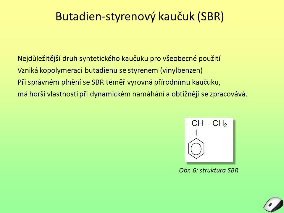 Butadien-styrenový kaučuk (SBR) Nejdůležitější druh syntetického kaučuku pro všeobecné použití Vzniká kopolymerací butadienu se styrenem (vinylbenzen)