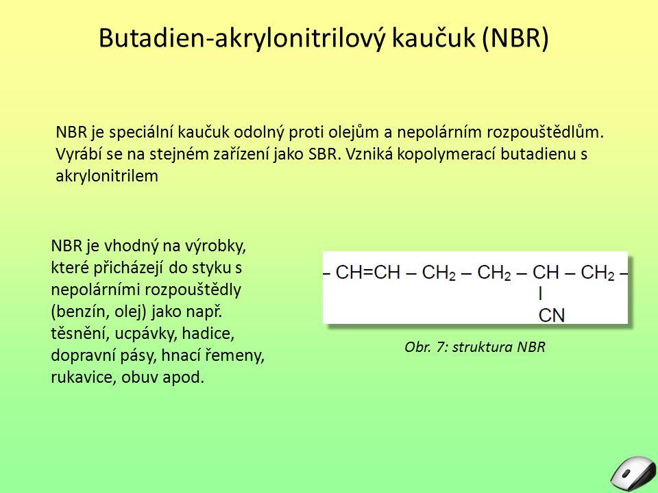 Butadien-akrylonitrilový kaučuk (NBR) NBR je speciální kaučuk odolný proti olejům a nepolárním rozpouštědlům. Vyrábí se na stejném zařízení jako SBR.