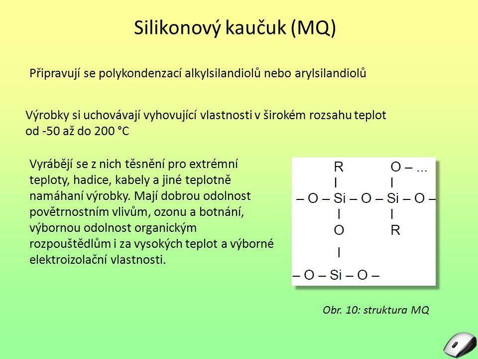 Silikonový kaučuk (MQ) Připravují se polykondenzací alkylsilandiolů nebo arylsilandiolů Výrobky si uchovávají vyhovující vlastnosti v širokém rozsahu