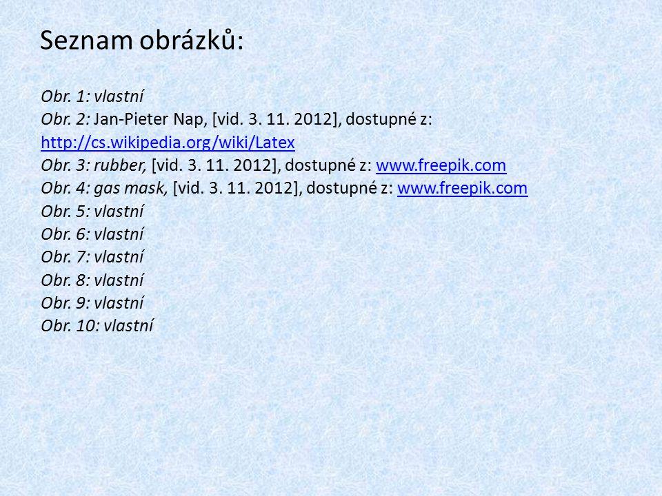 Seznam obrázků: Obr. 1: vlastní Obr. 2: Jan-Pieter Nap, [vid. 3. 11. 2012], dostupné z: http://cs.wikipedia.org/wiki/Latex http://cs.wikipedia.org/wik
