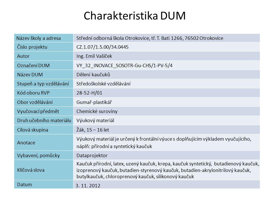 Dělení kaučuků Náplň výuky: Přírodní kaučuk Syntetické kaučuky pro všeobecné použití Syntetické kaučuky speciální