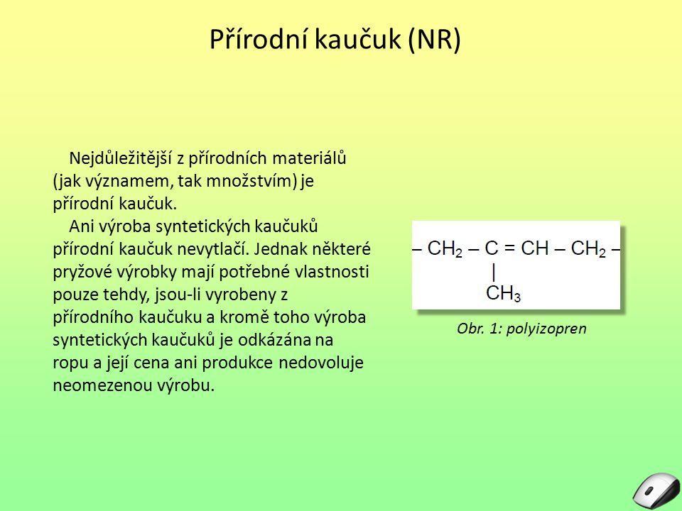Přírodní kaučuk (NR) Nejdůležitější z přírodních materiálů (jak významem, tak množstvím) je přírodní kaučuk. Ani výroba syntetických kaučuků přírodní