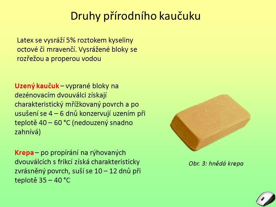 Druhy přírodního kaučuku Latex se vysráží 5% roztokem kyseliny octové či mravenčí. Vysrážené bloky se rozřežou a properou vodou Obr. 3: hnědá krepa Uz