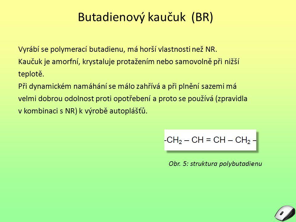 Butadienový kaučuk (BR) Vyrábí se polymerací butadienu, má horší vlastnosti než NR. Kaučuk je amorfní, krystaluje protažením nebo samovolně při nižší
