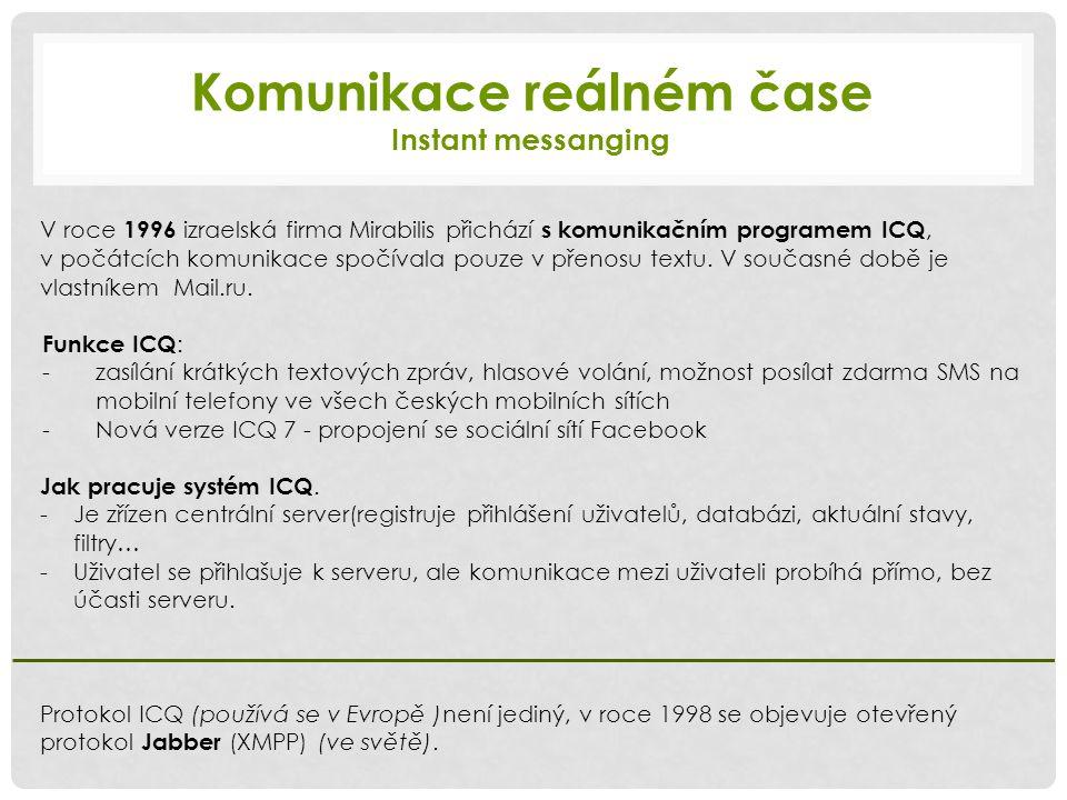 Komunikace reálném čase Instant messanging V roce 1996 izraelská firma Mirabilis přichází s komunikačním programem ICQ, v počátcích komunikace spočívala pouze v přenosu textu.