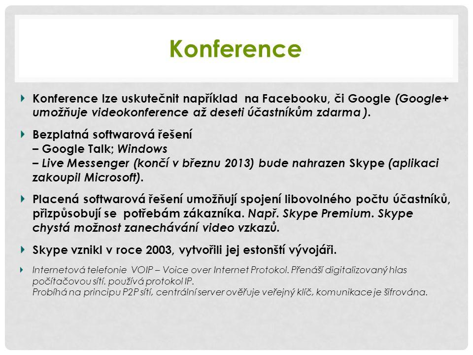 Konference Konference lze uskutečnit například na Facebooku, či Google (Google+ umožňuje videokonference až deseti účastníkům zdarma ).