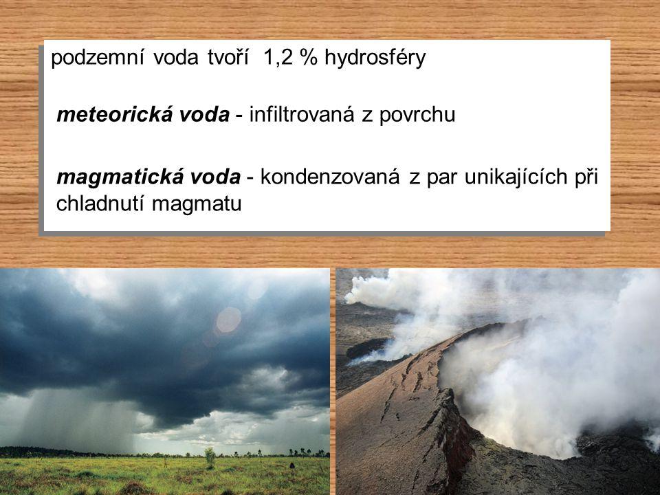 podzemní voda tvoří 1,2 % hydrosféry meteorická voda - infiltrovaná z povrchu magmatická voda - kondenzovaná z par unikajících při chladnutí magmatu