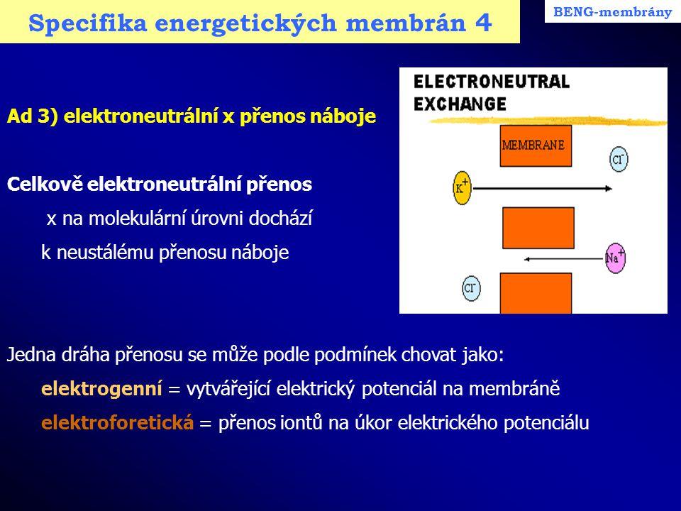 Specifika energetických membrán 4 BENG-membrány Ad 3) elektroneutrální x přenos náboje Celkově elektroneutrální přenos x na molekulární úrovni dochází