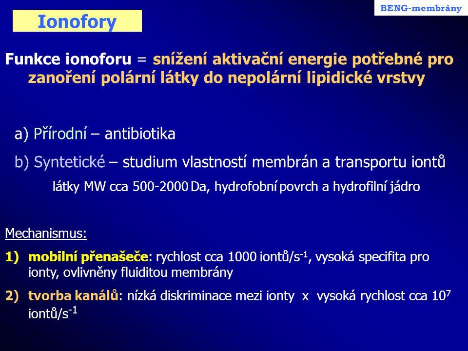 Ionofory Funkce ionoforu = snížení aktivační energie potřebné pro zanoření polární látky do nepolární lipidické vrstvy a) Přírodní – antibiotika b) Sy