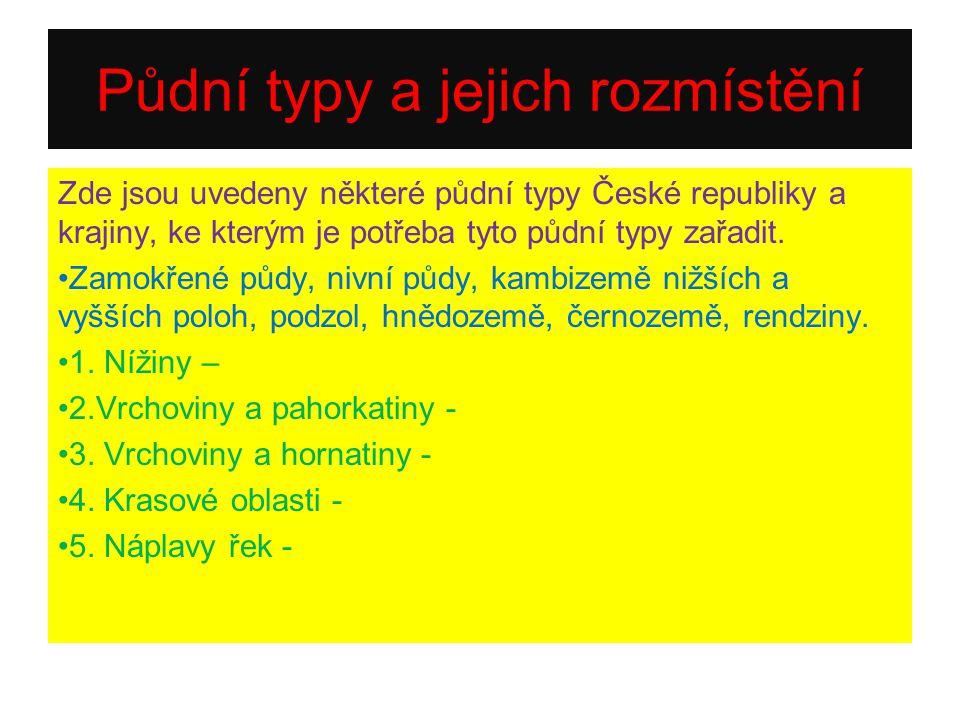 Půdní typy a jejich rozmístění Zde jsou uvedeny některé půdní typy České republiky a krajiny, ke kterým je potřeba tyto půdní typy zařadit.
