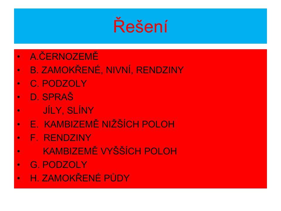 Řešení A.ČERNOZEMĚ B.ZAMOKŘENÉ, NIVNÍ, RENDZINY C.