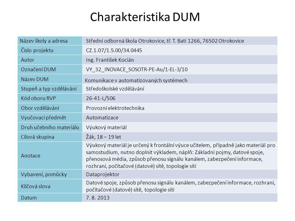 Náplň výuky Základní pojmy Datové spoje Přenosová média Způsob přenosu signálu kanálem Zabezpečení informace Rozhraní Počítačové (datové) sítě Topologie sítí Komunikace v automatizovaných systémech
