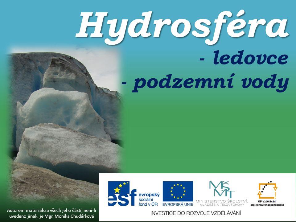 Hydrosféra Hydrosféra - ledovce - podzemní vody Autorem materiálu a všech jeho částí, není-li uvedeno jinak, je Mgr.