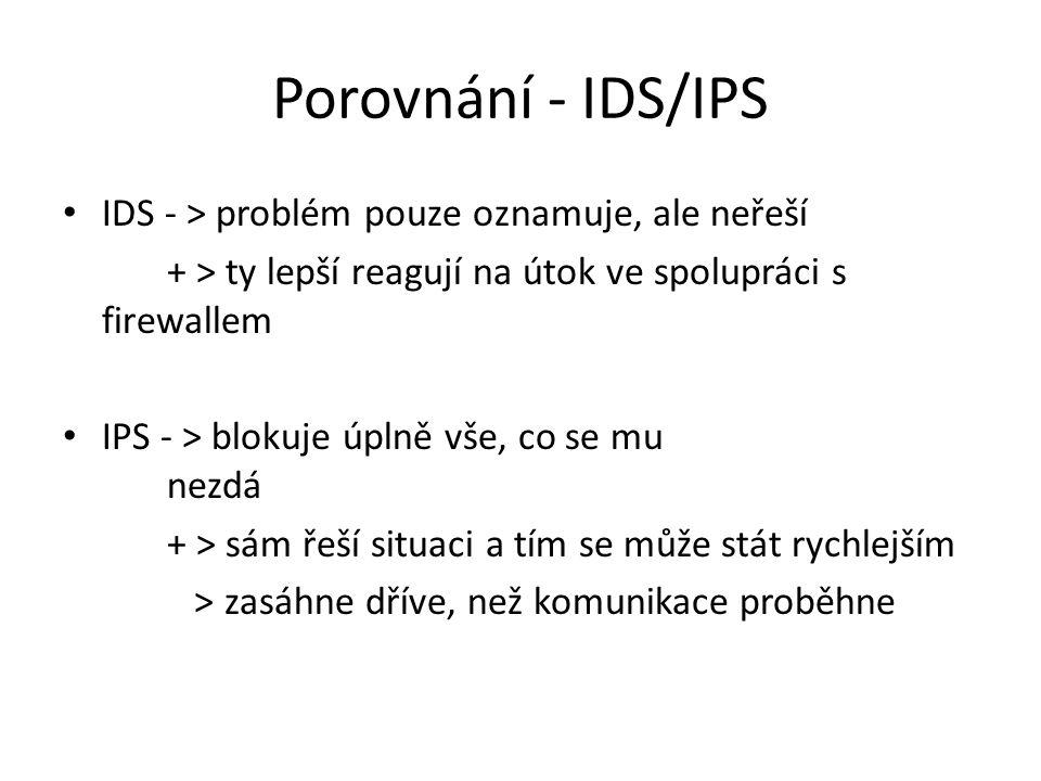 Porovnání - IDS/IPS IDS - > problém pouze oznamuje, ale neřeší + > ty lepší reagují na útok ve spolupráci s firewallem IPS - > blokuje úplně vše, co se mu nezdá + > sám řeší situaci a tím se může stát rychlejším > zasáhne dříve, než komunikace proběhne