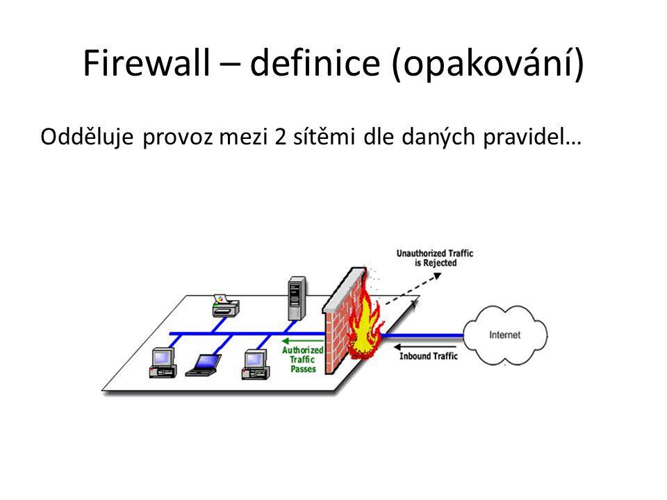Firewall – definice (opakování) Odděluje provoz mezi 2 sítěmi dle daných pravidel…